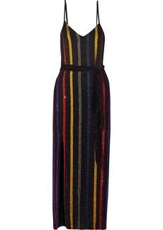 Retrofête Woman Rebecca Velvet-trimmed Sequined Chiffon Maxi Dress Black