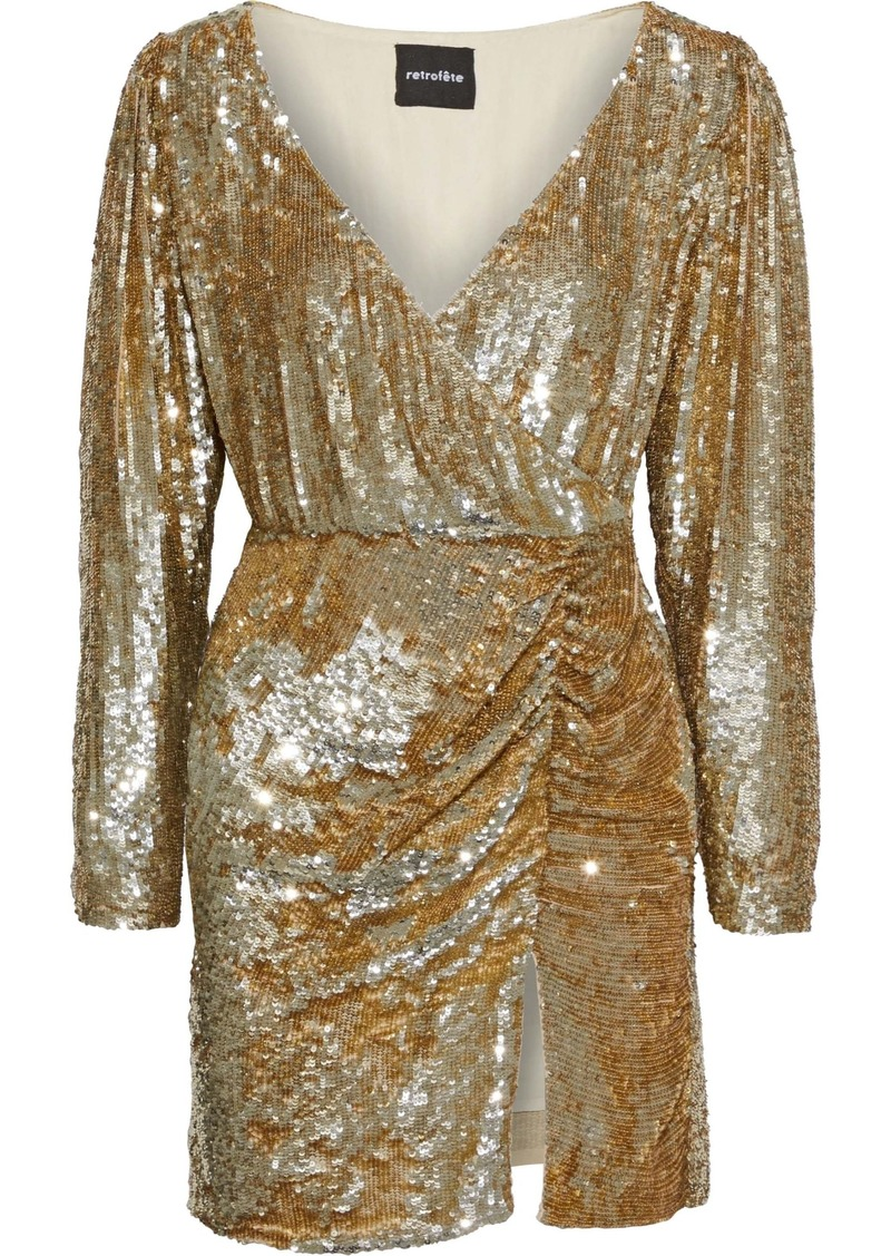 Retrofête Woman Roxy Wrap-effect Sequined Tulle Mini Dress Gold