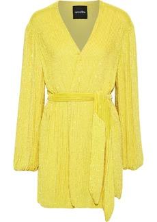 Retrofête Woman Sequined Georgette Mini Wrap Dress Yellow