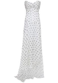 Retrofête Woman Strapless Pintucked Chiffon Gown White
