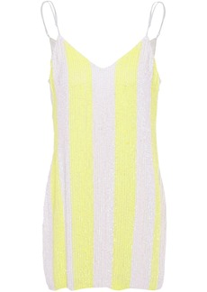 Retrofête Woman Sequined Chiffon Mini Dress Pastel Yellow