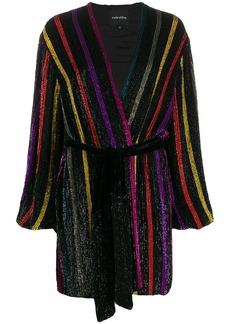 Retrofête striped long-sleeve dress