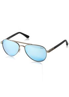 Revo Mens Polarized Sunglasses Raconteur Aviator Frame  Gunmetal Frame Terra