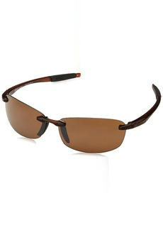 Revo Polarized Sunglasses Descend E Rectangle Frame  mm Rectangular Crystal Brown Terra