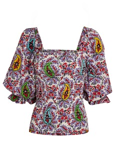 Rhode Alicia Puff Sleeve Paisley Top