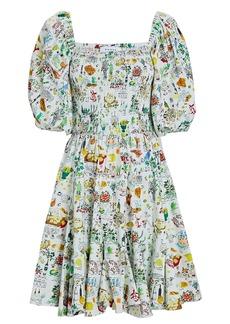Rhode Astrid Smocked Printed Poplin Dress