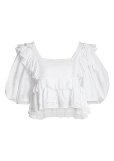 Rhode Charlotte Ruffled Cropped Top