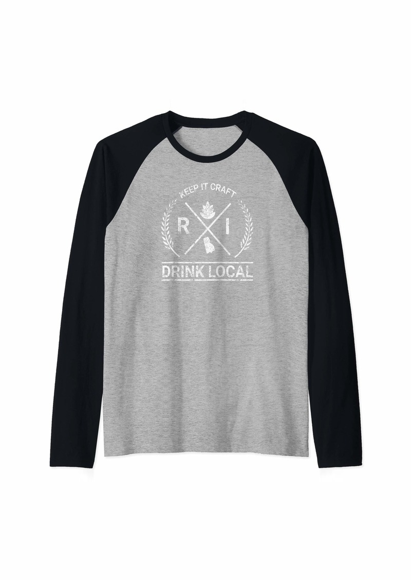 Drink Local Rhode Island Vintage Craft Beer Brewing Raglan Baseball Tee