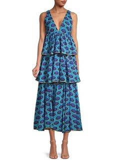Rhode Leela Print Tiered Midi Dress