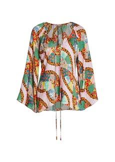 Rhode Lita Bell-Sleeve Patchwork Blouse
