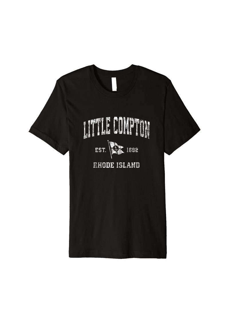 Rhode Little Compton RI Vintage Nautical Boat Anchor Flag Sports Premium T-Shirt