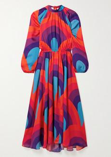 Rhode Mai Open-back Printed Crepe Midi Dress