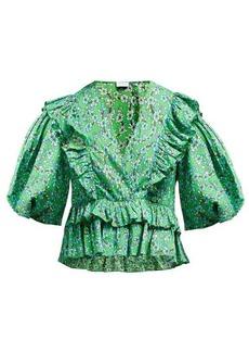 RHODE Elodie floral-print cotton-voile blouse
