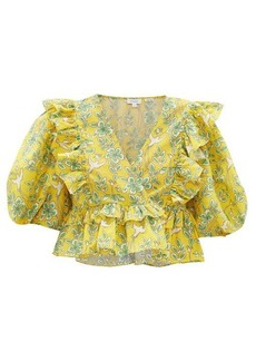 RHODE Elodie floral-print ruffled cotton cropped top