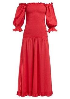 RHODE Eva smocked off-the-shoulder cotton dress