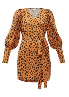 RHODE Frankie leopard-print polka-dot satin wrap dress