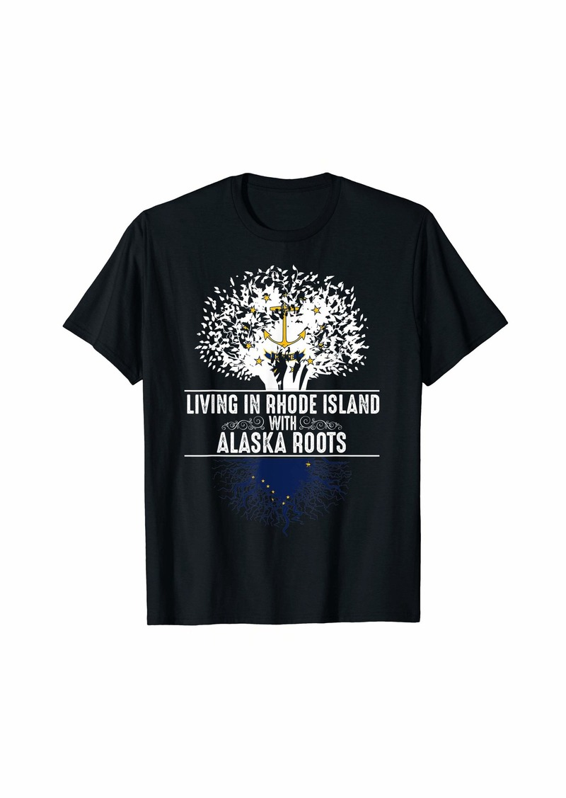 Rhode Island Home Alaska Roots State Tree Flag Gift T-Shirt