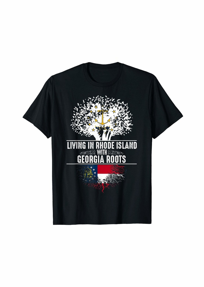 Rhode Island Home Georgia Roots State Tree Flag Gift T-Shirt
