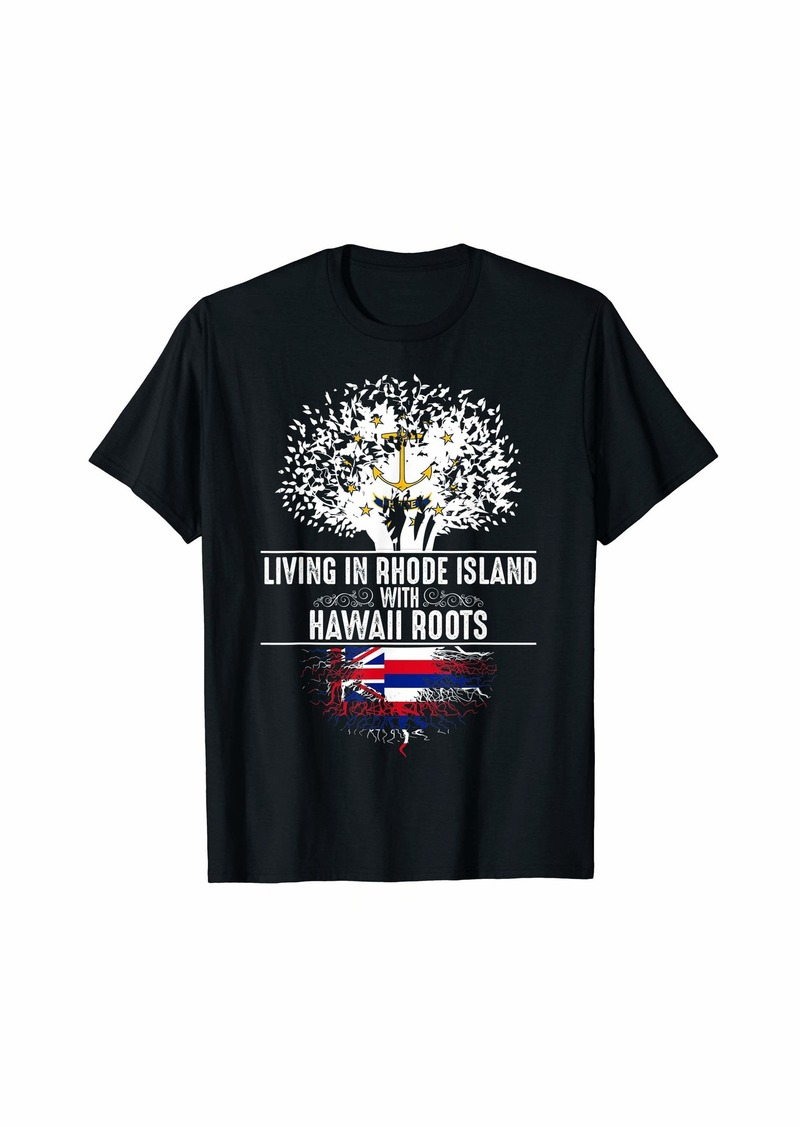 Rhode Island Home Hawaii Roots State Tree Flag Gift T-Shirt