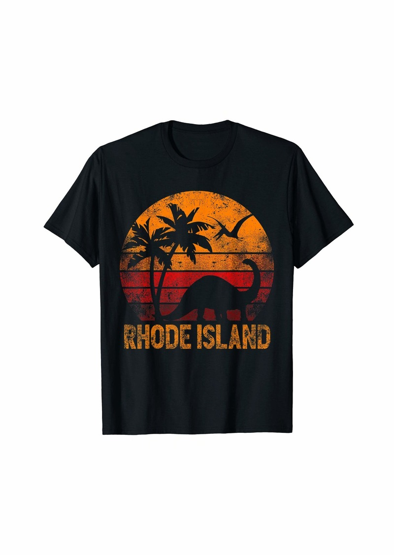 Rhode Island Retro Distressed Sunset Dinosaur Funny T-Shirt