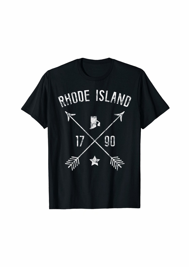 Rhode Island Retro Vintage Home State Map Distressed Arrows T-Shirt