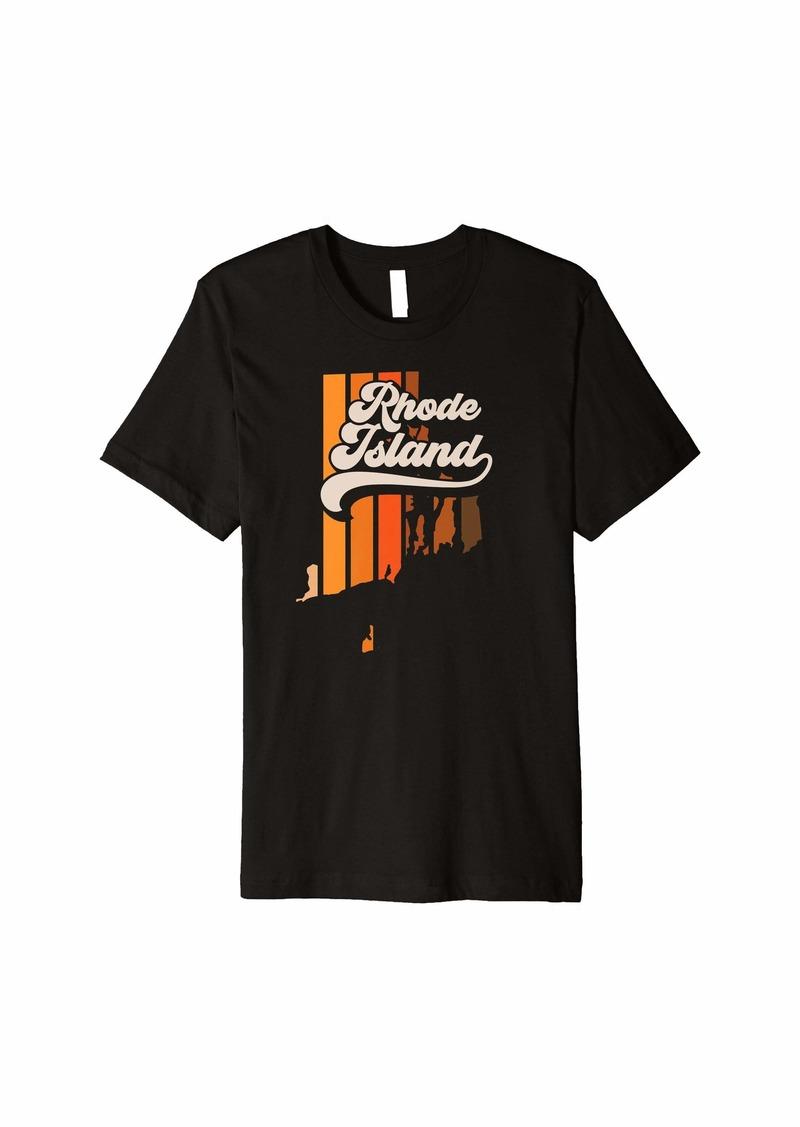 Rhode Island Vintage Retro 70s Style Stripe Silhouette Premium T-Shirt