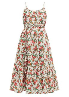 RHODE Lea floral-print cotton-voile midi dress