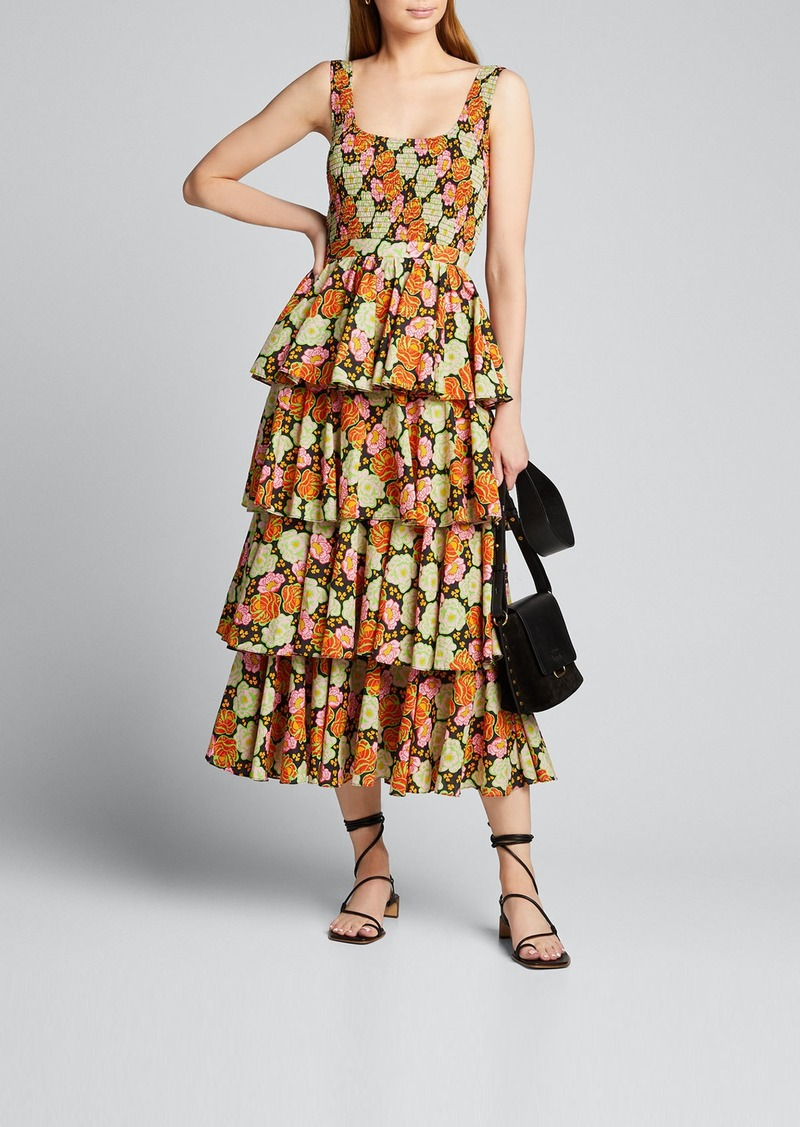 Rhode Naomi Smocked Floral Tiered Midi Dress