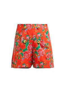 RHODE Reese floral-print high-waist cotton shorts
