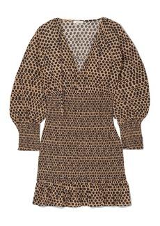 Rhode Woman Anya Shirred Printed Cotton-poplin Mini Dress Sand