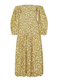Rhode Woman Harper Smocked Cotton-gauze Midi Dress Yellow
