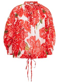 Rhode Woman Helene Gathered Floral-print Twill Blouse Red
