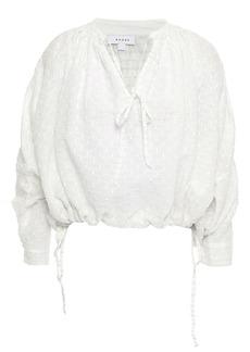 Rhode Woman Helene Metallic Fil Coupé Cotton-blend Blouse White