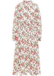 Rhode Woman Mai Gathered Floral-print Cotton-poplin Midi Dress White