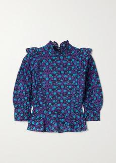 Rhode Sylvie Ruffled Printed Cotton-voile Top