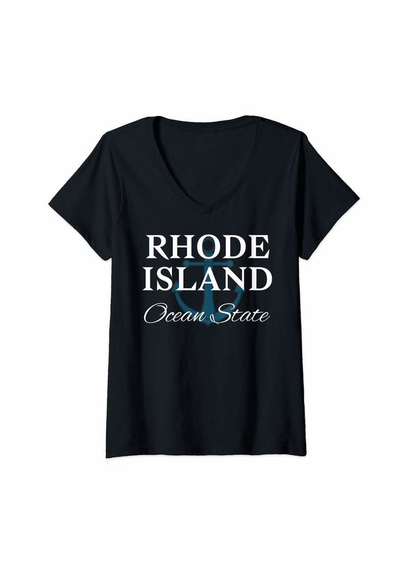 Womens RHODE ISLAND OCEAN STATE ANCHOR IMAGE  V-Neck T-Shirt