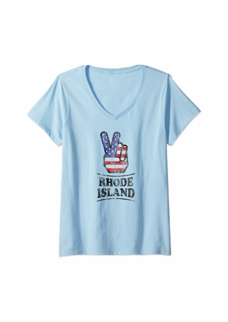 Womens Rhode Island Retro 70s Style Hippie Peace Symbol Distressed V-Neck T-Shirt