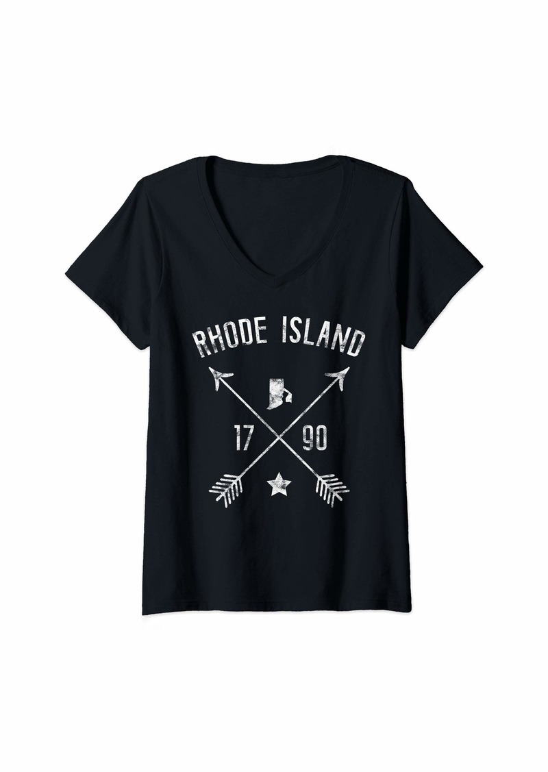Womens Rhode Island Retro Vintage Home State Map Distressed Arrows V-Neck T-Shirt