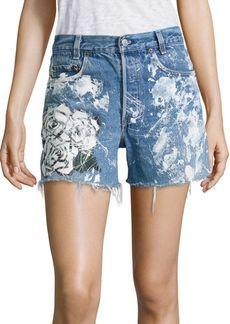 Rialto Jean Project Vintage 501 Splatter Rose Cut-Off Denim Shorts