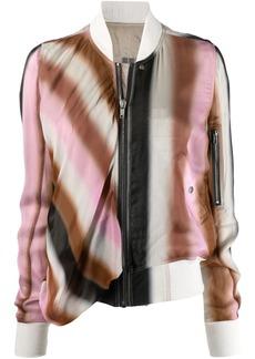 Rick Owens abstract-print silk bomber jacket