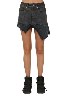Rick Owens Asymmetric Cotton Denim Skirt