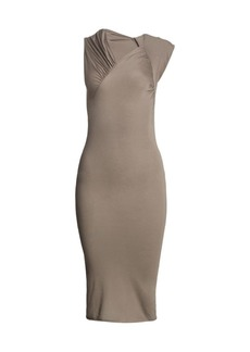Rick Owens Asymmetric Gather Stretch Bodycon Dress
