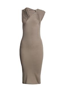 Rick Owens Asymmetric Gather Stretch Bodycon Dress
