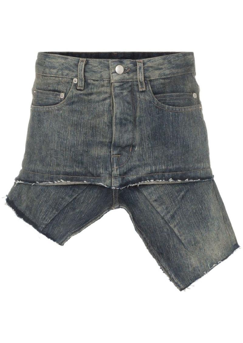 Rick Owens asymmetric hem denim mini skirt
