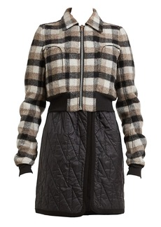 Rick Owens Bable Cropped Plaid Wool Jacket
