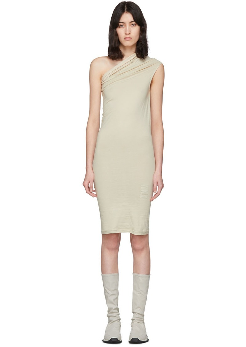Rick Owens Beige One Shoulder Tunic Dress