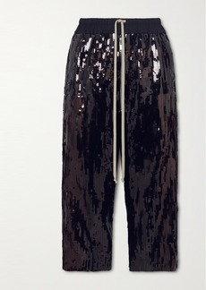 Rick Owens Bela Cropped Sequined Cotton Pants