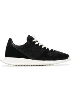Rick Owens black and white sisyphus shearling sneakers