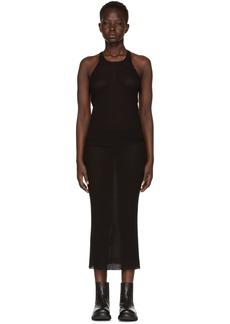 Rick Owens Black Basic Silk Rib Tank Dress
