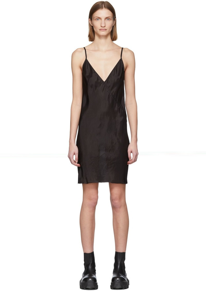Rick Owens Black Cupro Slip Dress